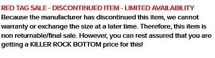 Red Tag Sale Disclaimer