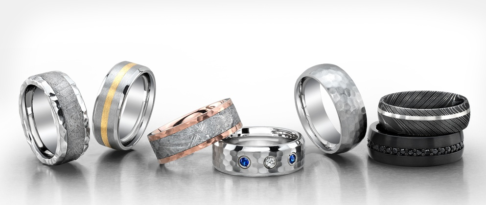 Titanium And Tungsten Rings Unique Mens Wedding Bands 90 Day